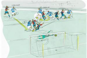 Il layout del terzo gol della Sampdoria. Azione travolgente Reggini-Cassano-Soriano