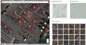Una schermata di Terrapattern che segnala in rosso zone simili a quella selezionata e in basso a destra isola i risultati della ricerca; in alto a destra il riquadro di riferimento sulla mappa cittadina (di New York in questo caso) e la presenza sulla stessa di immagini simili