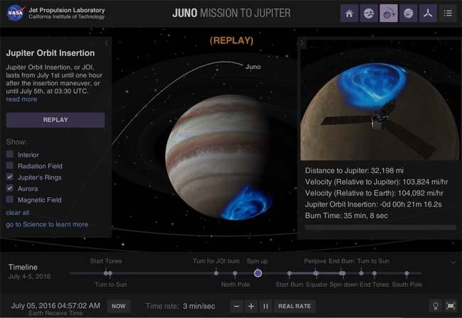 In un'altra schermata dell'app Eyes on Juno è possibile impostare la visibilità di alcune caratteristiche del pianeta Giove: anelli, aurore polari, campi magnetici ecc.
