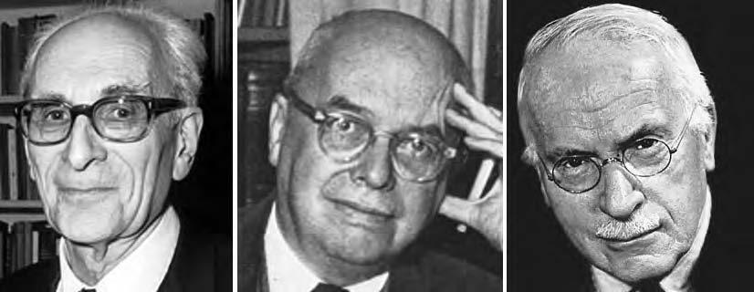 Da sinistra, Claude Lévi Strauss, Ernst Robert Curtius e Carl Gustav Jung